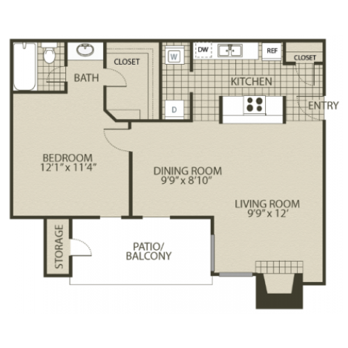 A2 Floor Plan | 1 Bedroom with 1 Bath | 735 Square Feet | 4804 Haverwood | Apartment Homes