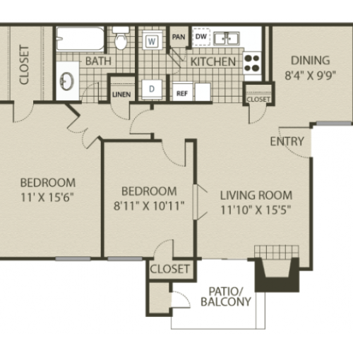 B1 Floor Plan | 2 Bedroom with 1 Bath | 874 Square Feet | 4804 Haverwood | Apartment Homes