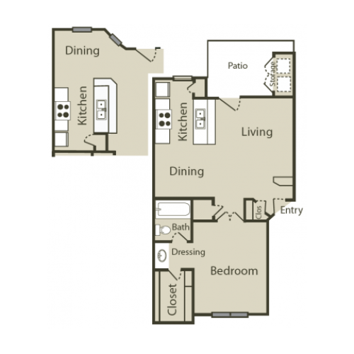 B1 Floor Plan | 1 Bedroom with 1 Bath | 645 Square Feet | Solara | Apartment Homes