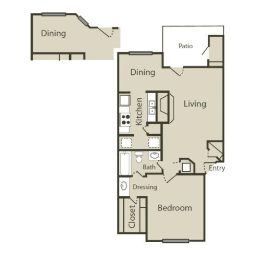 C1 Floor Plan | 1 Bedroom with 1 Bath | 745 Square Feet | Solara | Apartment Homes