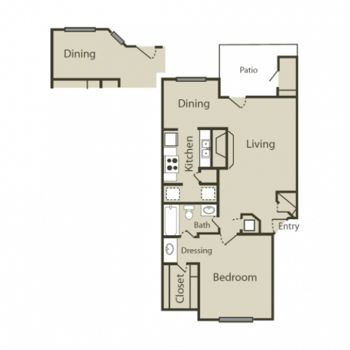 C2 Floor Plan | 1 Bedroom with 1 Bath | 745 Square Feet | Solara | Apartment Homes