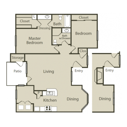 F1 Floor Plan | 2 Bedroom with 2 Bath | 1064 Square Feet | Solara | Apartment Homes