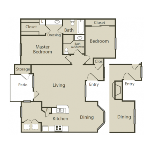 F2 Floor Plan | 2 Bedroom with 2 Bath | 1050 Square Feet | Solara | Apartment Homes