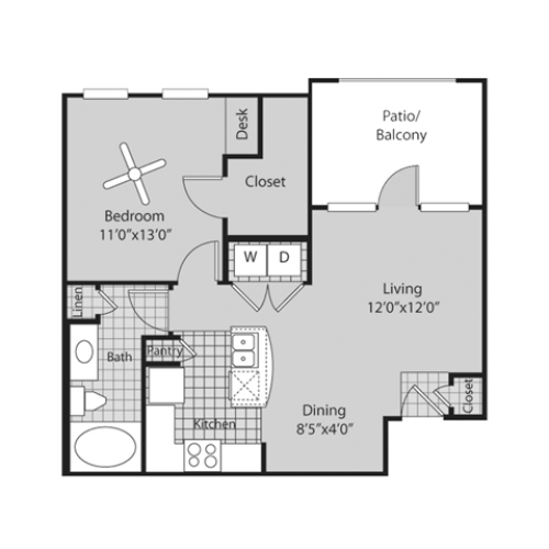 A1 Floor Plan | 1 Bedroom with 1 Bath | 688 Square Feet | Bluffs at Vista Ridge | Apartment Homes