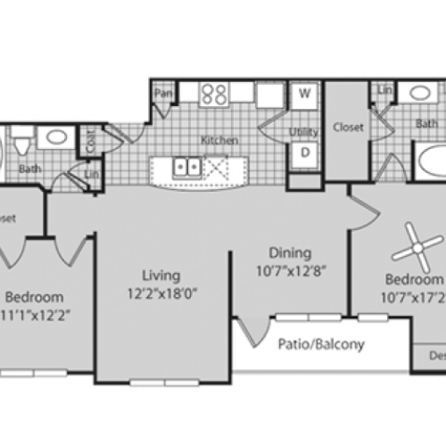 B2 Floor Plan | 2 Bedroom with 2 Bath | 1113 Square Feet | Bluffs at Vista Ridge | Apartment Homes