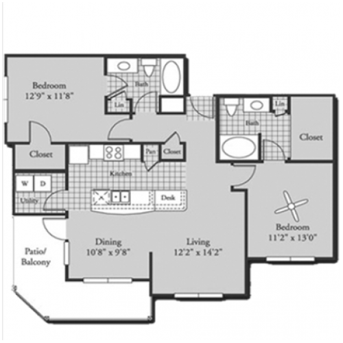 B3 Floor Plan | 2 Bedroom with 2 Bath | 1152 Square Feet | Bluffs at Vista Ridge | Apartment Homes