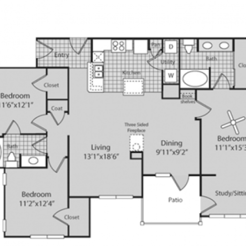 C1 Floor Plan | 3 Bedroom with 2 Bath | 1500 Square Feet | Bluffs at Vista Ridge | Apartment Homes