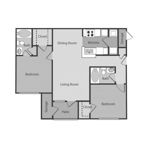 Berkshire Floor Plan | 2 Bedroom with 2 Bath | 908 Square Feet | Midtown Crossing | Apartment Homes