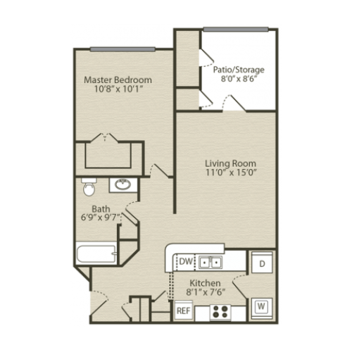 The Wisteria Floor Plan | 1 Bedroom with 1 Bath | 696 Square Feet | Retreat at River Park | Apartment Homes