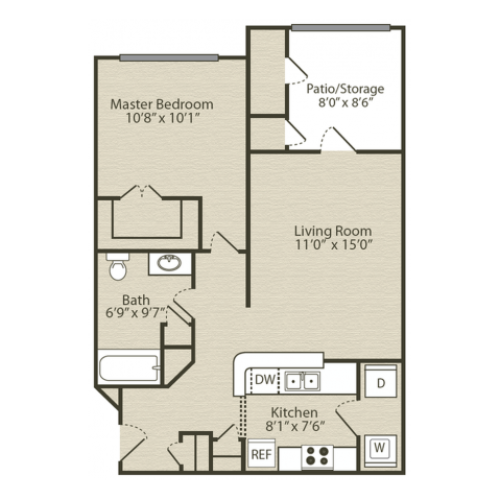 Renovated Wisteria Floor Plan | 1 Bedroom with 1 Bath | 696 Square Feet | Retreat at River Park | Apartment Homes