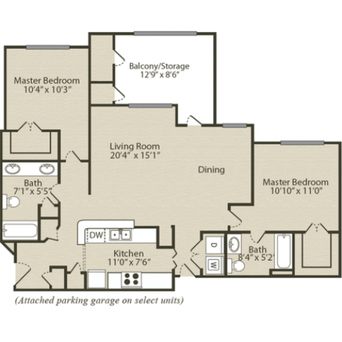 The Bradford Floor Plan | 2 Bedroom with 2 Bath | 1140 Square Feet | Retreat at River Park | Apartment Homes