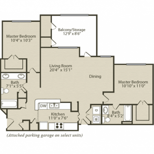 The Bradford with Garage Floor Plan | 2 Bedroom with 2 Bath | 1140 Square Feet | Retreat at River Park | Apartment Homes