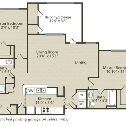 The Bradford with Sunroom Floor Plan | 2 Bedroom with 2 Bath | 1259 Square Feet | Retreat at River Park | Apartment Homes