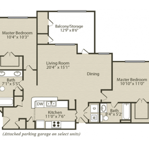 The Bradford with Sunroom and Garage Floor Plan | 2 Bedroom with 2 Bath | 1259 Square Feet | Retreat at River Park | Apartment Homes