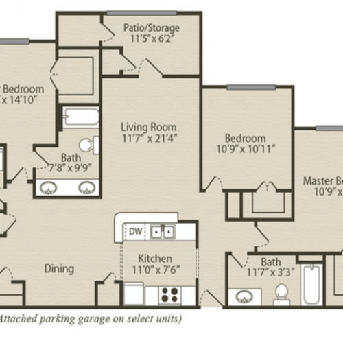 The Magnolia with Garage Floor Plan | 3 Bedroom with 2 Bath | 1384 Square Feet | Retreat at River Park | Apartment Homes