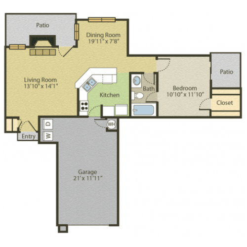 A1 Floor Plan | 1 Bedroom with 1 Bath | 703 Square Feet | Spring Pointe | Apartment Homes