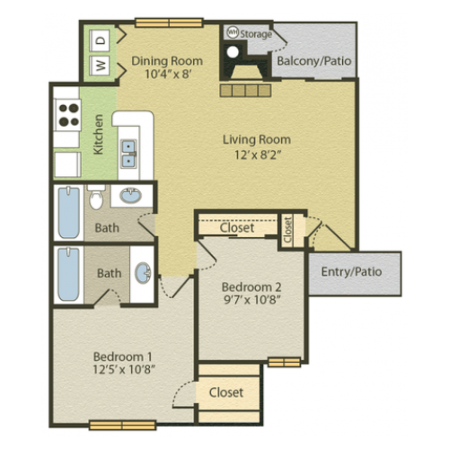 B1 Floor Plan | 2 Bedroom with 2 Bath | 875 Square Feet | Spring Pointe | Apartment Homes
