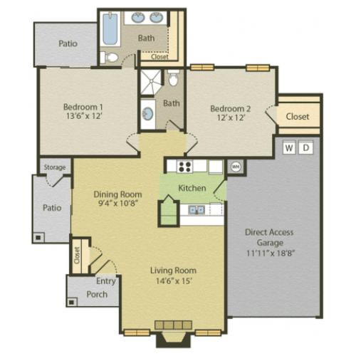 B3 Floor Plan | 2 Bedroom with 2 Bath | 1028 Square Feet | Spring Pointe | Apartment Homes