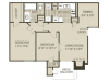 B1 Floor Plan | 2 Bedroom with 1 Bath | 874 Square Feet | The Oaks of North Dallas | Apartment Homes