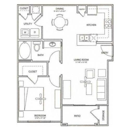 Station Floor Plan | 1 Bedroom with 1 Bath | 752 Square Feet | Retreat at Stafford | Apartment Homes