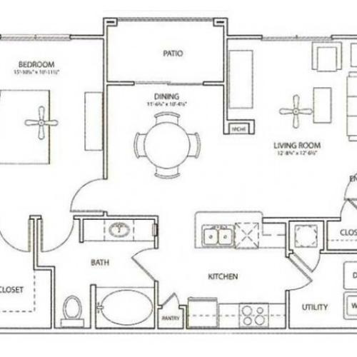 Newport Floor Plan | 1 Bedroom with 1 Bath | 852 Square Feet | Retreat at Stafford | Apartment Homes
