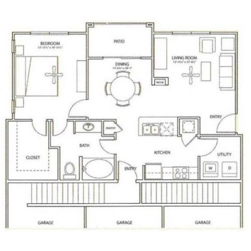 Eastgate Floor Plan | 1 Bedroom with 1 Bath | 840 Square Feet | Retreat at Stafford | Apartment Homes