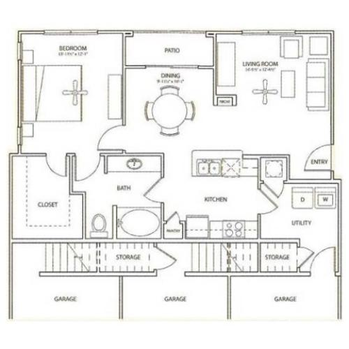 Doxery Floor Plan | 1 Bedroom with 1 Bath | 876 Square Feet | Retreat at Stafford | Apartment Homes