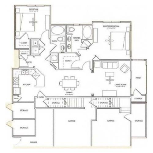 Forgate Floor Plan | 2 Bedroom with 2 Bath | 1212 Square Feet | Retreat at Stafford | Apartment Homes