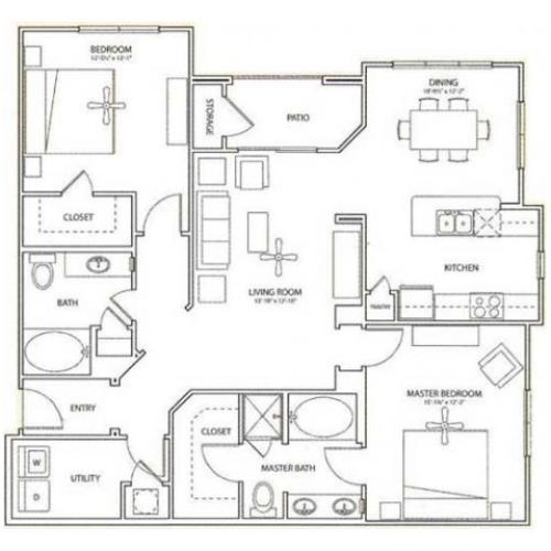 Orchard Floor Plan | 2 Bedroom with 2 Bath | 1312 Square Feet | Retreat at Stafford | Apartment Homes