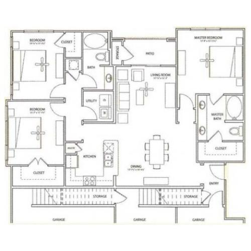 Earl Floor Plan | 3 Bedroom with 2 Bath | 1490 Square Feet | Retreat at Stafford | Apartment Homes