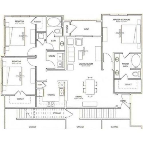 Garden Floor Plan | 3 Bedroom with 2 Bath | 1438 Square Feet | Retreat at Stafford | Apartment Homes