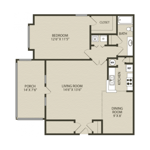Middleton Floor Plan | 1 Bedroom with 1 Bath | 902 Square Feet | Plantations at Haywood | Apartment Homes