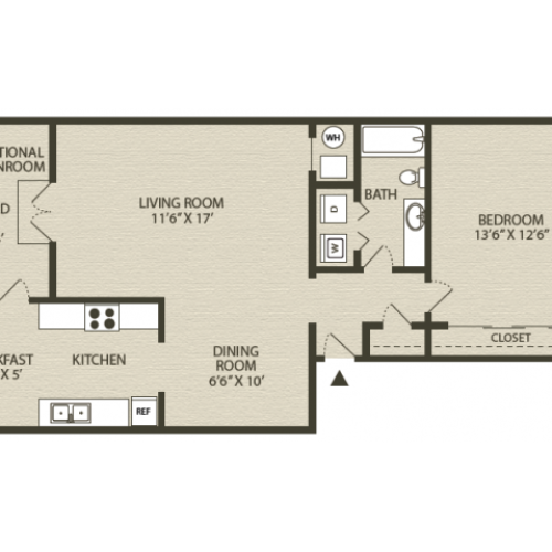 Hampton Floor Plan | 1 Bedroom with 1 Bath | 890 Square Feet | Plantations at Haywood | Apartment Homes