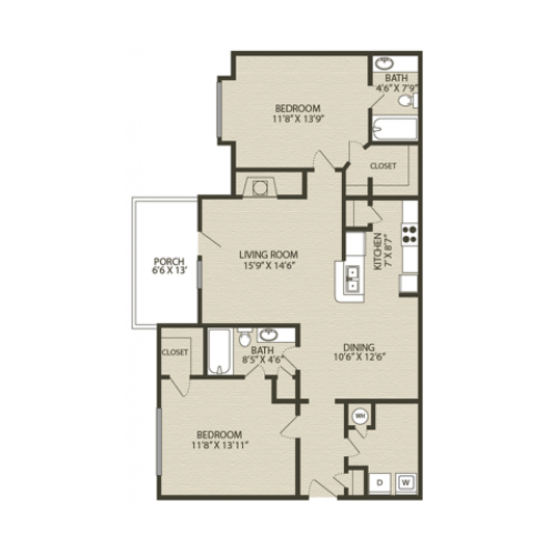 Mansfield I Floor Plan | 2 Bedroom with 2 Bath | 1229 Square Feet | Plantations at Haywood | Apartment Homes