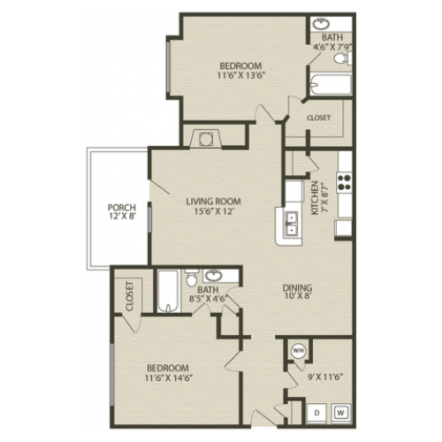 Mansfield II Floor Plan | 2 Bedroom with 2 Bath | 1231 Square Feet | Plantations at Haywood | Apartment Homes
