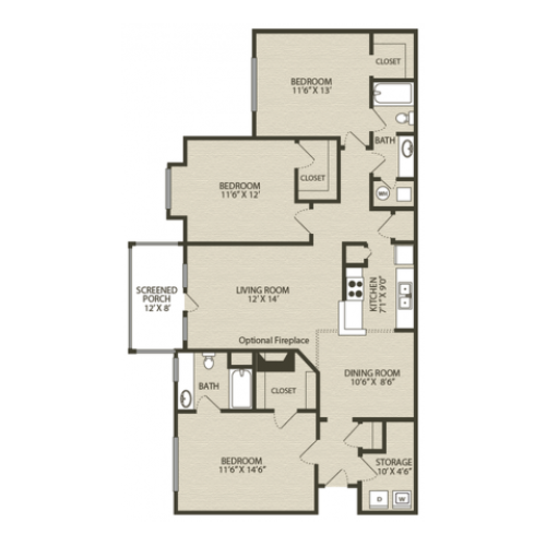 Redcliffe Floor Plan | 3 Bedroom with 2 Bath | 1489 Square Feet | Plantations at Haywood | Apartment Homes