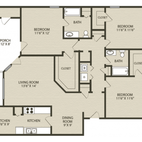 Calhoun Floor Plan | 3 Bedroom with 2 Bath | 1507 Square Feet | Plantations at Haywood | Apartment Homes