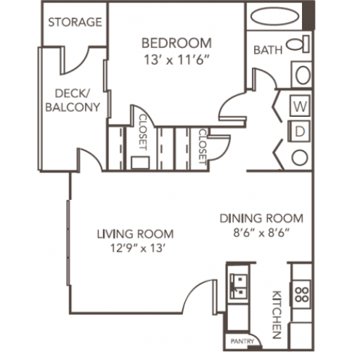 Renovated Birch Floor Plan | 1 Bedroom with 1 Bath | 793 Square Feet | 1070 Main | Apartment Homes