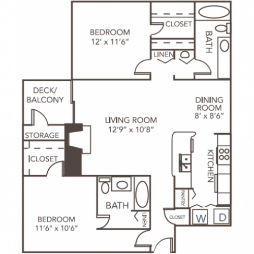 Renovated Dogwood Floor Plan | 2 Bedroom with 2 Bath | 1055 Square Feet | 1070 Main | Apartment Homes