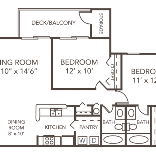 Renovated Cypress Floor Plan | 2 Bedroom with 2 Bath | 1096 Square Feet | 1070 Main | Apartment Homes