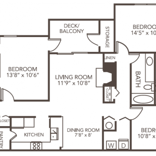 Renovated Elm Floor Plan | 3 Bedroom with 2 Bath | 1212 Square Feet | 1070 Main | Apartment Homes