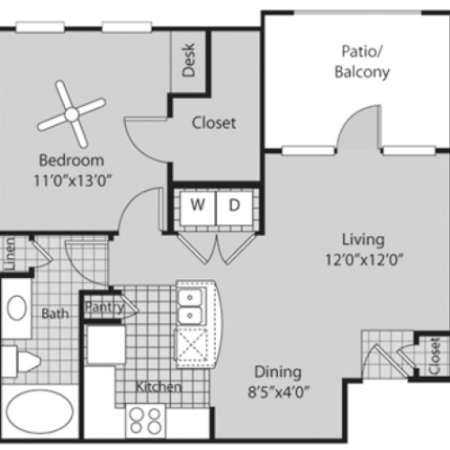 Renovated A1 Floor Plan | 1 Bedroom with 1 Bath | 688 Square Feet | Bluffs at Vista Ridge | Apartment Homes