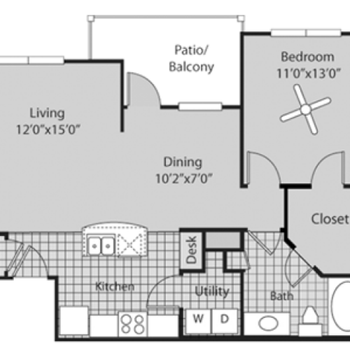 Renovated A2 Floor Plan | 1 Bedroom with 1 Bath | 800 Square Feet | Bluffs at Vista Ridge | Apartment Homes