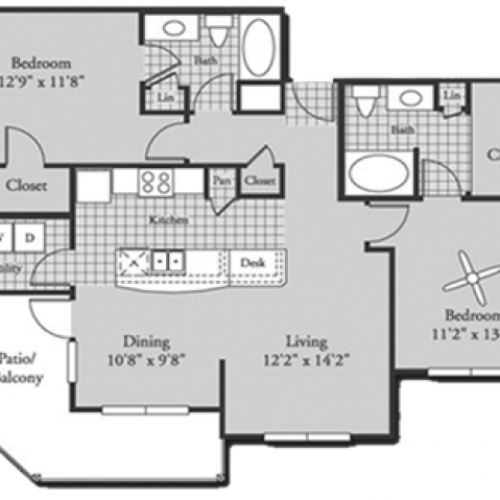 Renovated B3 Floor Plan | 2 Bedroom with 2 Bath | 1152 Square Feet | Bluffs at Vista Ridge | Apartment Homes