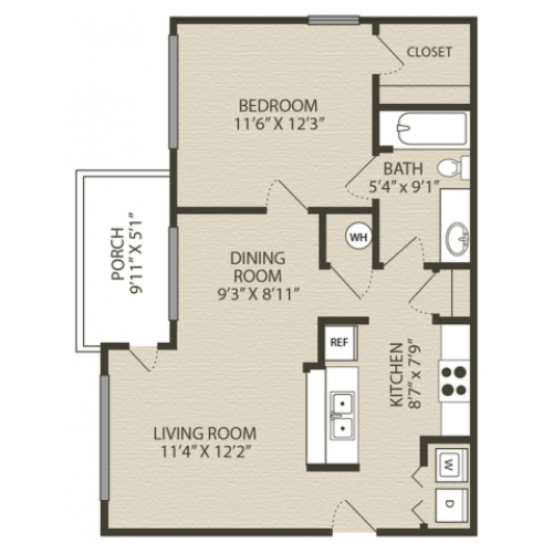 Renovated Drayton Floor Plan | 1 Bedroom with 1 Bath | 760 Square Feet | Plantations at Haywood | Apartment Homes