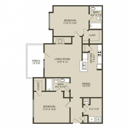Mansfield II Floor Plan 2 | 2 Bedroom with 2 Bath | 1231 Square Feet | Plantations at Haywood | Apartment Homes