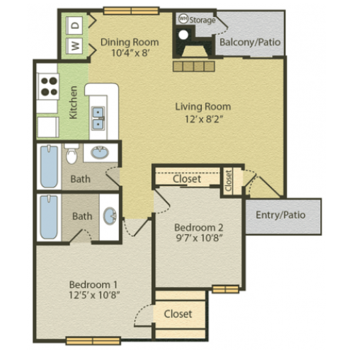 Renovated B1 Floor Plan | 2 Bedroom with 2 Bath | 875 Square Feet | Spring Pointe | Apartment Homes