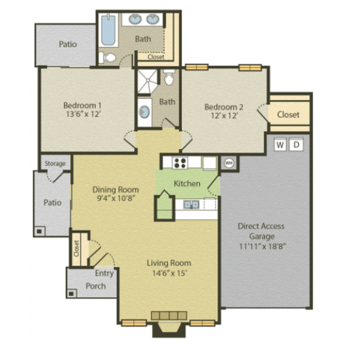 Renovated B3 Floor Plan | 2 Bedroom with 2 Bath | 1028 Square Feet | Spring Pointe | Apartment Homes