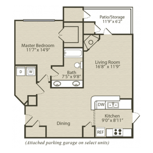 Renovated Dogwood Floor Plan | 1 Bedroom with 1 Bath | 843 Square Feet | Retreat at River Park | Apartment Homes