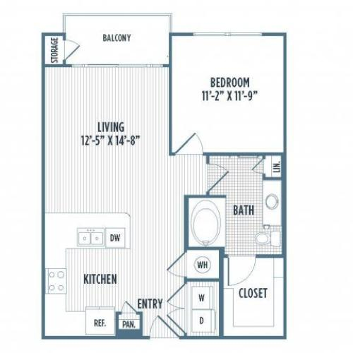 880-A4 Floor Plan | 1 Bedroom with 1 Bath | 737 Square Feet | 3800 Main | Apartment Homes